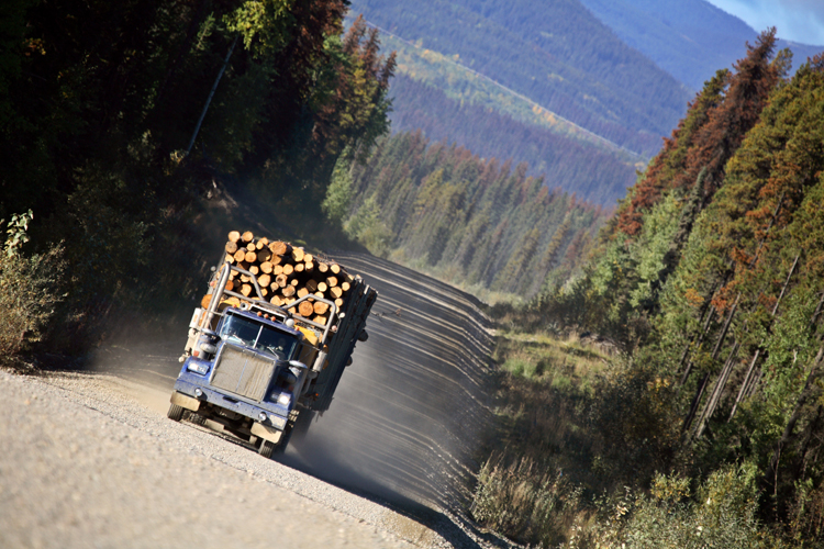 Logging truck in beautiful British Columbia